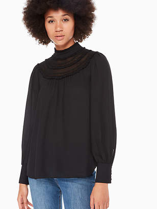 Kate Spade Lace trim long sleeve top