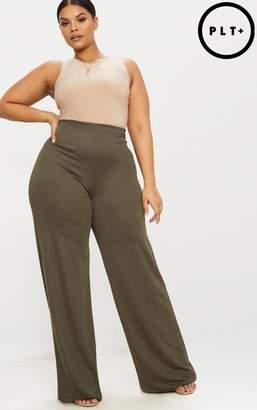 PrettyLittleThing Plus Khaki High Waisted Wide Leg Trousers