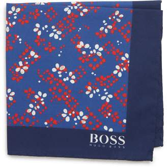 BOSS Floral Cotton & Wool Pocket Square