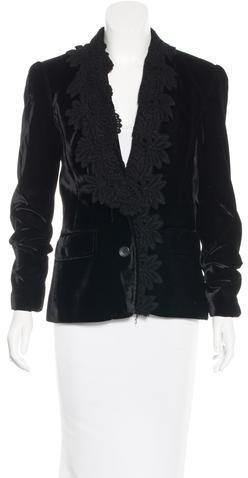 Dolce & GabbanaD&G Crochet-Trimmed Velvet Blazer