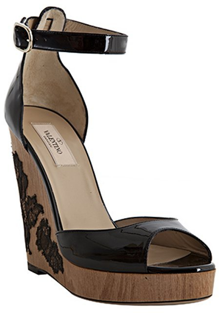 Valentino black patent leather lace detail ankle strap wedges