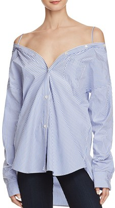 Theory Tamalee Dalton Stripe Cold-Shoulder Shirt $265 thestylecure.com