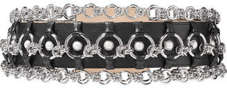 Chain And Faux Pearl Embellished Leather Belt - Black