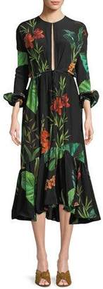 Johanna Ortiz Namibia Long-Sleeves Keyhole Silk Midi Dress