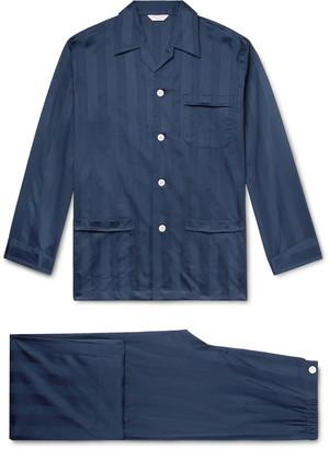 Derek Rose Lingfield Satin-Striped Cotton Pyjama Set