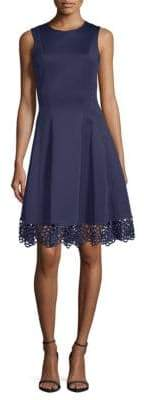 Donna Ricco Lace Hem Fit-&-Flare Dress