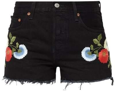 ́s® Coloured 5-Pocket-Jeansshorts mit Stickereien
