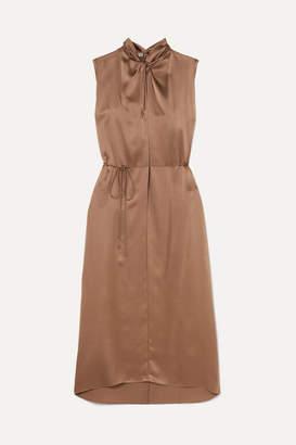 Vince Knotted Silk-satin Dress - Brass