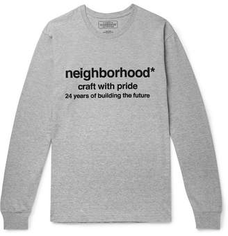 Neighborhood Logo-Print Mélange Cotton-Jersey T-Shirt