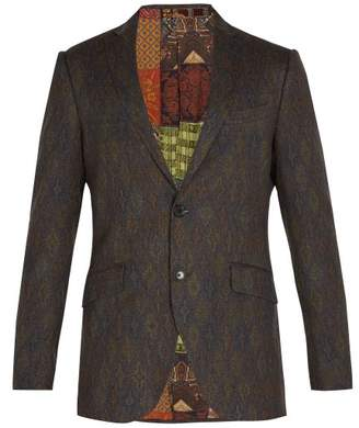 Etro Jacquard Wool Blazer - Mens - Brown