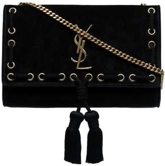 At Farfetch Saint Laurent Black Kate Medium Suede Leather Shoulder Bag