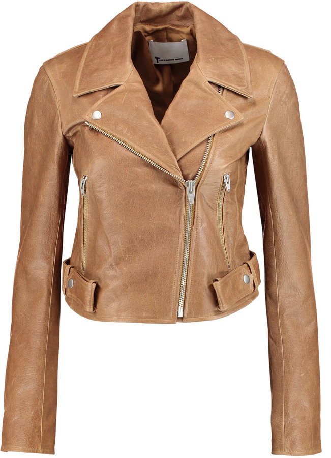 Alexander Wang T by Alexander Wang Cropped leather biker jacket