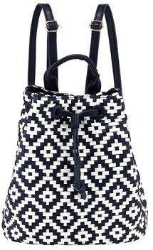 Neiman Marcus Diamond-Weave Drawstring Backpack