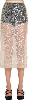 Miu Miu Sequined Sheer Nylon Skirt