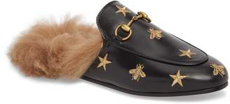 Gucci Princetown Genuine Shearling Bee Loafer Mule