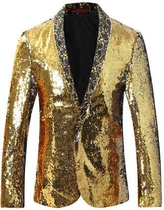 Cloudstyle Men's Sport Coat Slim Fit Notched Lapel Sequins Dance Party Blazer Jacket