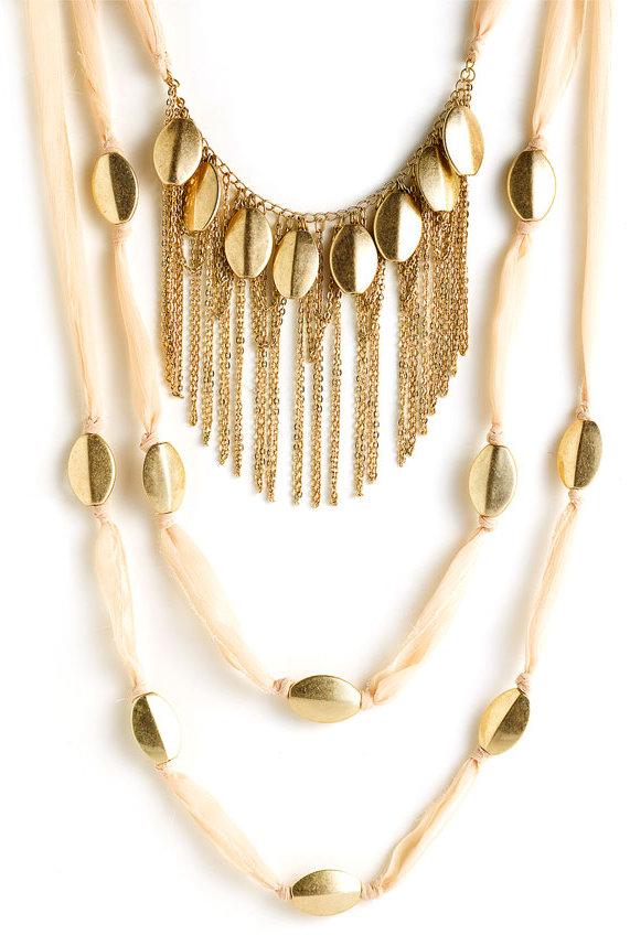 Spring Street Design Group Ribbon & Fringe Necklace
