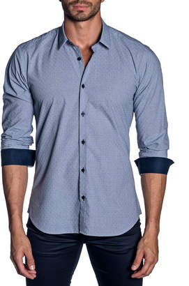 Jared Lang Men's Modern-Fit Pindot Long-Sleeve Shirt with Contrast Cuffs
