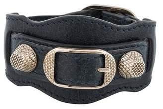 Pre Owned At Therealreal Balenciaga Metallic Edge Leather Bracelet