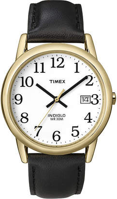 Timex Easy Reader Mens Black Leather Strap Watch T2H2919J