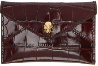 Alexander McQueen Red Croc Skull Envelope Card Holder