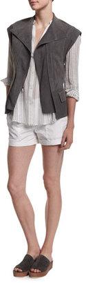 Vince Cap-Sleeve Nubuck Leather Vest $795 thestylecure.com
