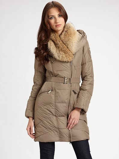 Add Down Fur-Trimmed Puffer Coat