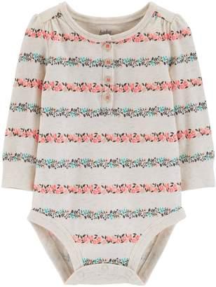 Osh Kosh Oshkosh Bgosh Baby Girl Floral Striped Henley Bodysuit