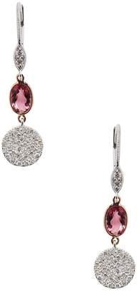 Meira T Women's 14K Two-Tone Gold, Pink Tourmaline & 0.40 Total Ct. Diamond Drop Earrings