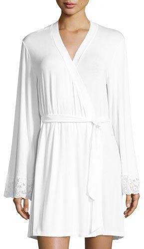 CosabellaCosabella Jersey-Knit Lace-Cuff Robe, White