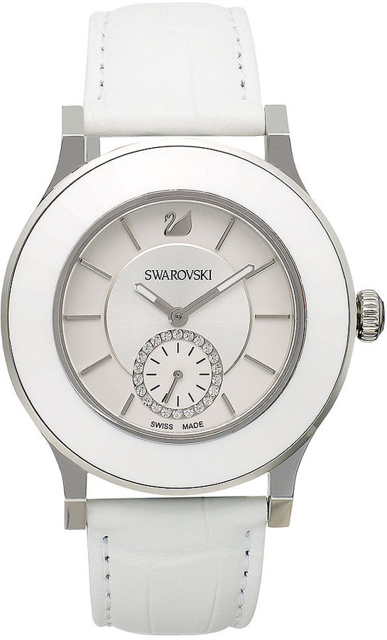 Swarovski Watch, Women's Swiss Octea Classica White Calfskin Leather Strap 39mm 1181757