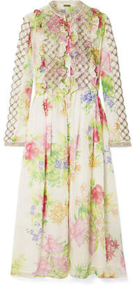Dodo Bar Or - Ruffled Crystal-embellished Floral-print Chiffon Midi Dress - White