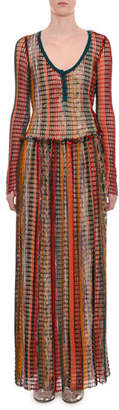 Missoni Scoop-Neck Long-Sleeve Multicolor Mesh Long Dress