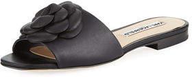 Karl Lagerfeld Paris Roslyn Leather Slide Sandal with Flower