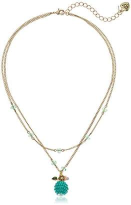 Betsey Johnson GBG)) Paradise Lost Women's Apple Two-Row Pendant Necklace
