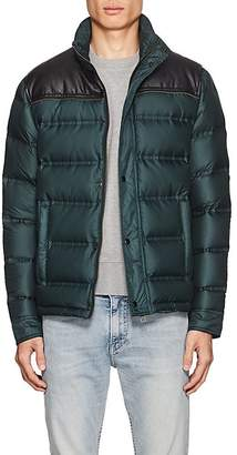Just Cavalli MEN'S FAUX-LEATHER-YOKE DOWN PUFFER JACKET