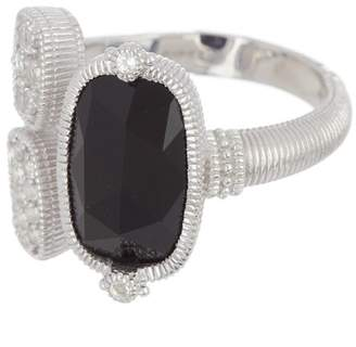 Judith Ripka Sterling Silver Gold Coast Gemstone & Double Pave Station Ring - Size 7