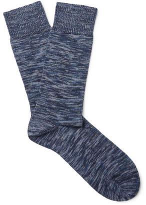 Oliver Spencer Loungewear - Miller Melange Stretch Cotton-Blend Socks - Men - Blue