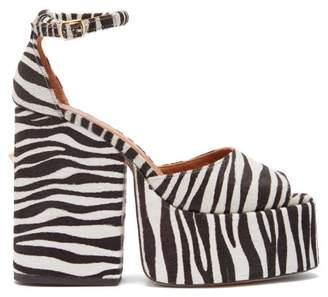 Osman Gesa Zebra Effect Calf Hair Platform Sandals - Womens - Black White