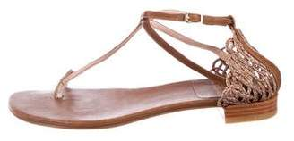 Stuart Weitzman T-Strap Leather Sandals