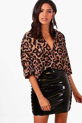 boohoo NEW Womens Leopard Revere Collar Shirt in Polyester
