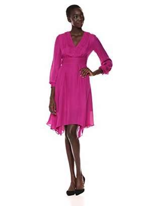 Parker Women's Evanna Long Sleeve V-Neck Asymmetrical Midi Dress