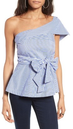 Women's J.o.a. Stripe One-Shoulder Peplum Top $69 thestylecure.com