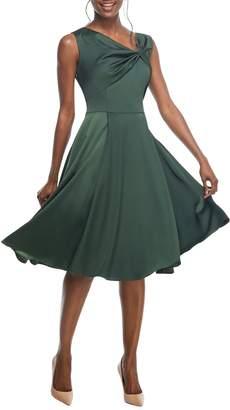 Gal Meets Glam Noelle Twist Neck Satin Dress