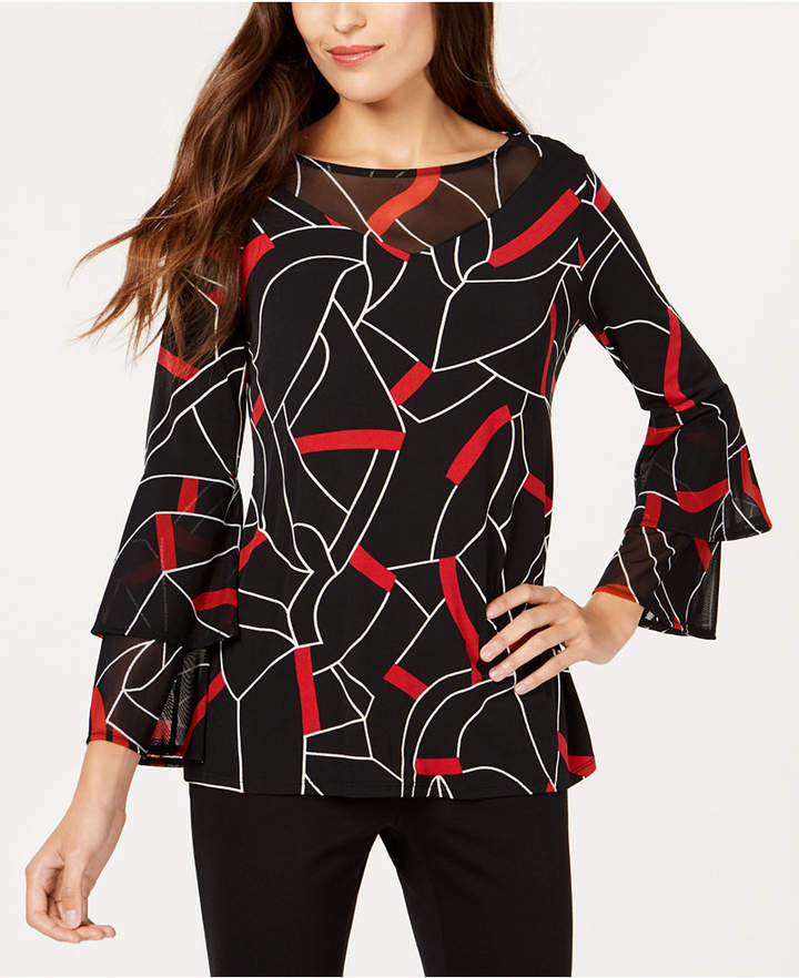 Alfani Printed Mesh-Trim Top, Created for Macy's