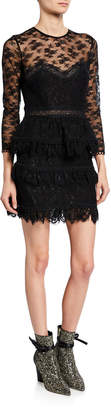The Kooples Floral Lace Illusion Scallop Dress