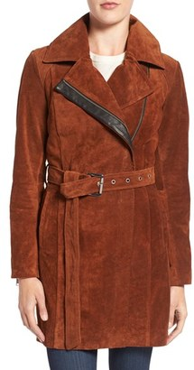 Women's Andrew Marc 'Sienna 33' Suede Belted Trench Coat $795 thestylecure.com