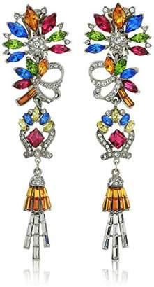 Swarovski Ben-Amun Jewelry Crystal Collage Bridal Wedding Multi-Color Clip Drop Earrings