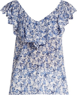 REBECCA TAYLOR Aimee floral-print off-the-shoulder cotton top $208 thestylecure.com