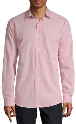 Claiborne Mens Long Sleeve Striped Button-Front Shirt Slim